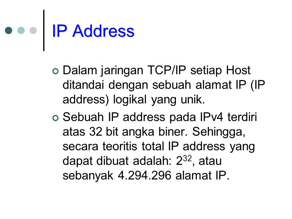 IP Address Dalam jaringan TCP/IP setiap Host ditandai dengan sebuah alamat IP (IP address) logikal yang unik.