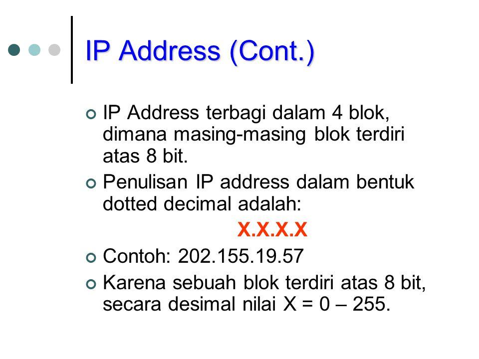 IP Address (Cont.) IP Address terbagi dalam 4 blok, dimana masing-masing blok terdiri atas 8 bit.