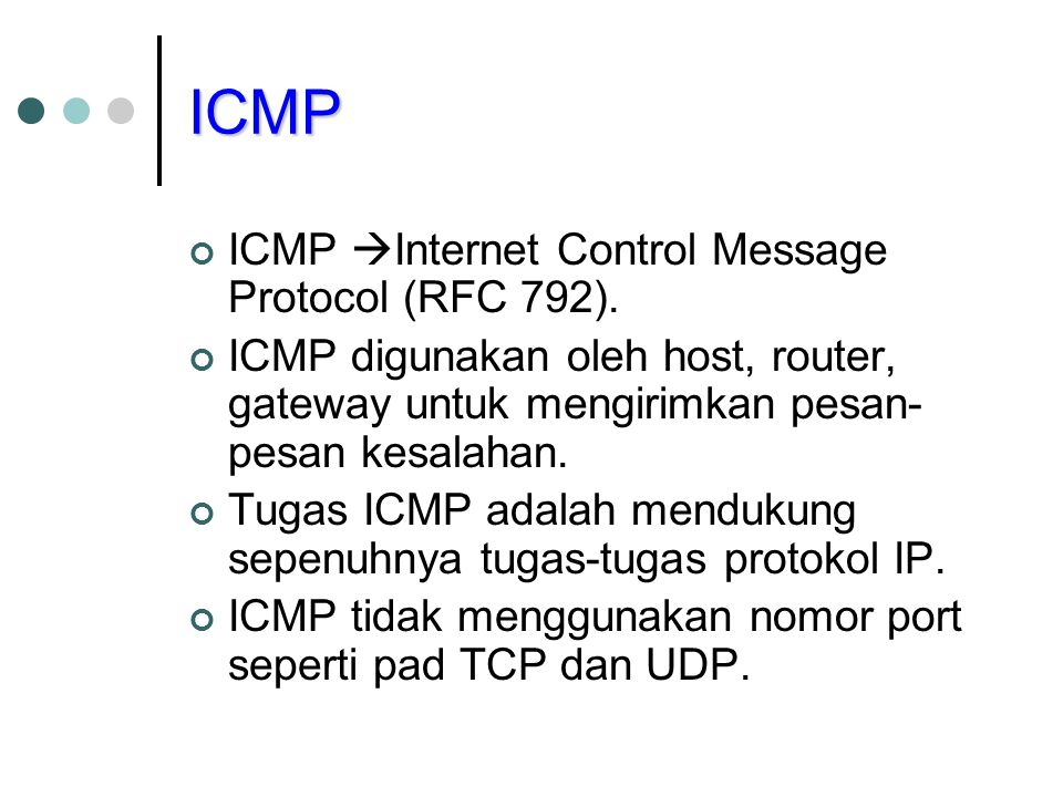 ICMP ICMP Internet Control Message Protocol (RFC 792).