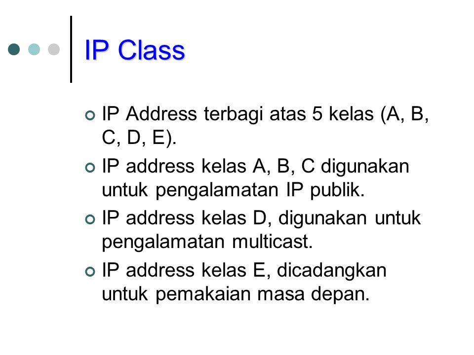 IP Class IP Address terbagi atas 5 kelas (A, B, C, D, E).