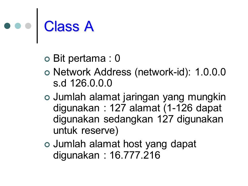 Class A Bit pertama : 0. Network Address (network-id): 1.0.0.0 s.d 126.0.0.0.