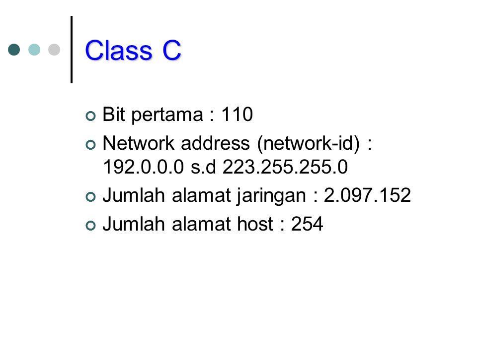 Class C Bit pertama : 110. Network address (network-id) : 192.0.0.0 s.d 223.255.255.0. Jumlah alamat jaringan : 2.097.152.