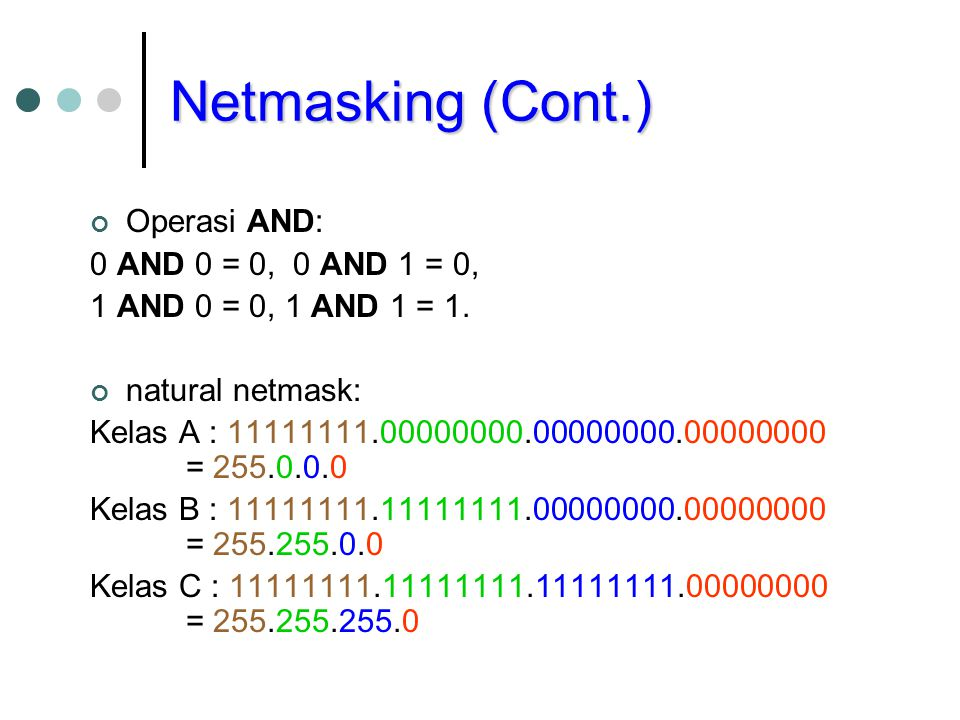 Netmasking (Cont.) Operasi AND: 0 AND 0 = 0, 0 AND 1 = 0,