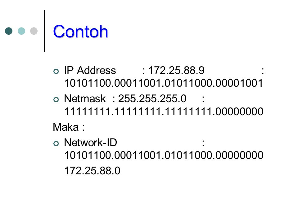 Contoh IP Address : 172.25.88.9 : 10101100.00011001.01011000.00001001. Netmask : 255.255.255.0 : 11111111.11111111.11111111.00000000.