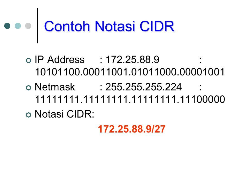Contoh Notasi CIDR IP Address : 172.25.88.9 : 10101100.00011001.01011000.00001001. Netmask : 255.255.255.224 : 11111111.11111111.11111111.11100000.