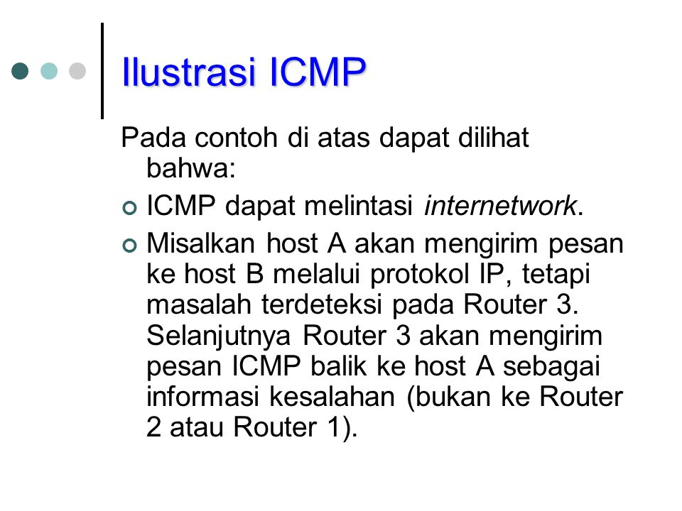 Ilustrasi ICMP Pada contoh di atas dapat dilihat bahwa: