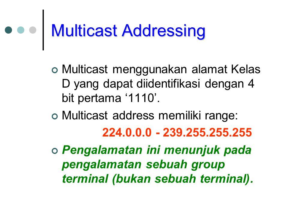 Multicast Addressing Multicast menggunakan alamat Kelas D yang dapat diidentifikasi dengan 4 bit pertama '1110'.