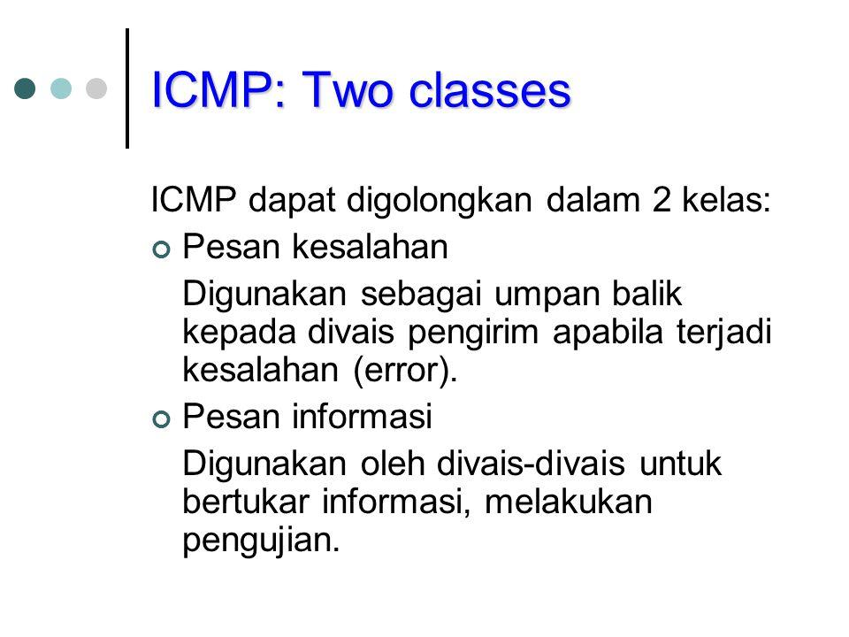 ICMP: Two classes ICMP dapat digolongkan dalam 2 kelas: