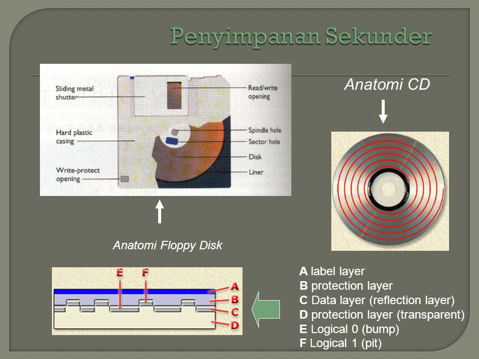 Penyimpanan Sekunder Anatomi CD Anatomi Floppy Disk A label layer
