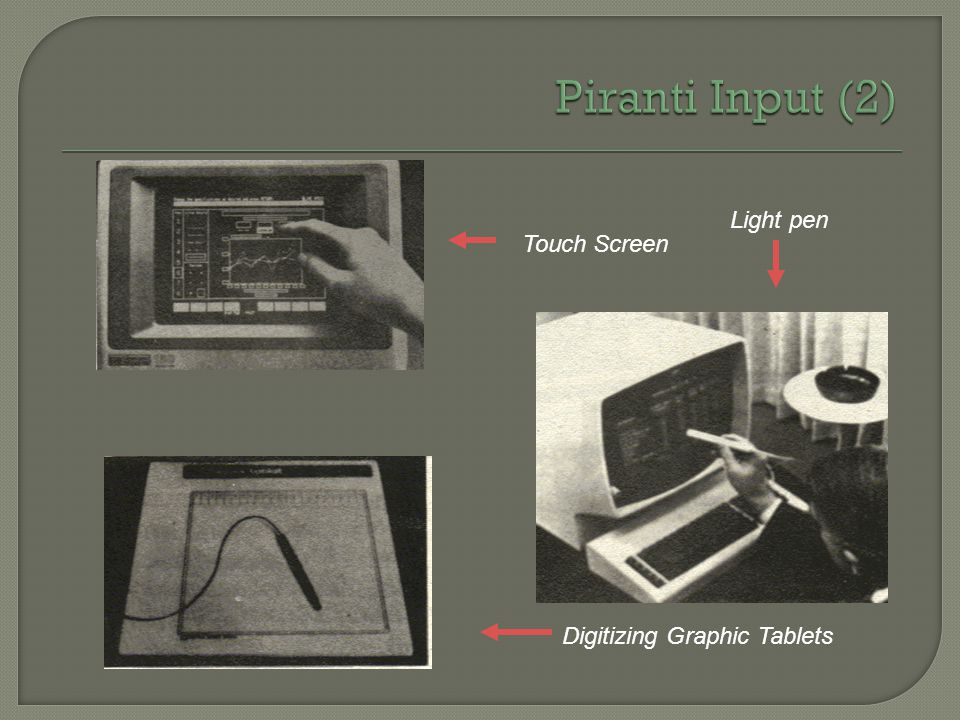 Piranti Input (2) Light pen Touch Screen Digitizing Graphic Tablets