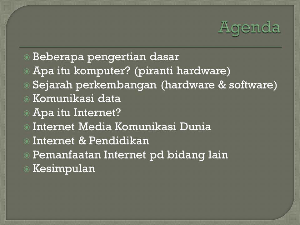 Agenda Beberapa pengertian dasar Apa itu komputer (piranti hardware)
