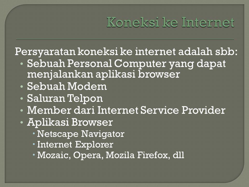 Koneksi ke Internet Persyaratan koneksi ke internet adalah sbb:
