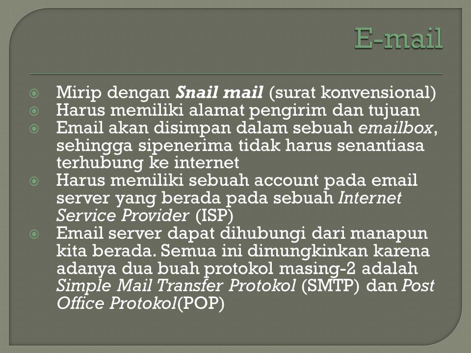 E-mail Mirip dengan Snail mail (surat konvensional)