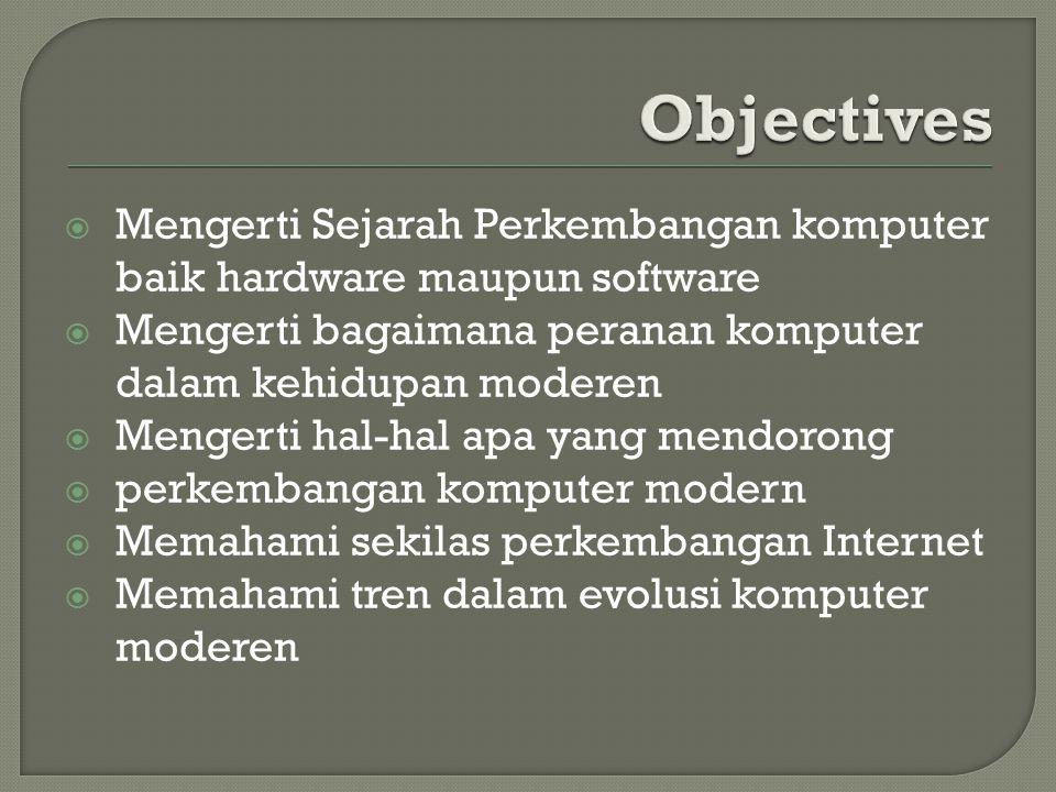 Objectives Mengerti Sejarah Perkembangan komputer baik hardware maupun software. Mengerti bagaimana peranan komputer dalam kehidupan moderen.
