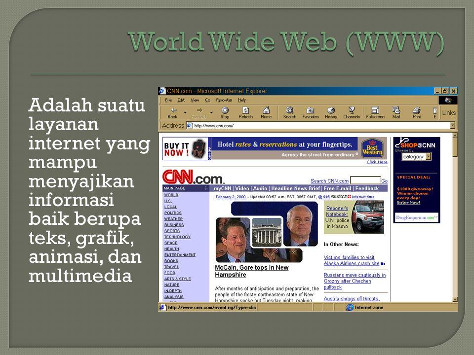 World Wide Web (WWW) Adalah suatu layanan internet yang mampu menyajikan informasi baik berupa teks, grafik, animasi, dan multimedia.