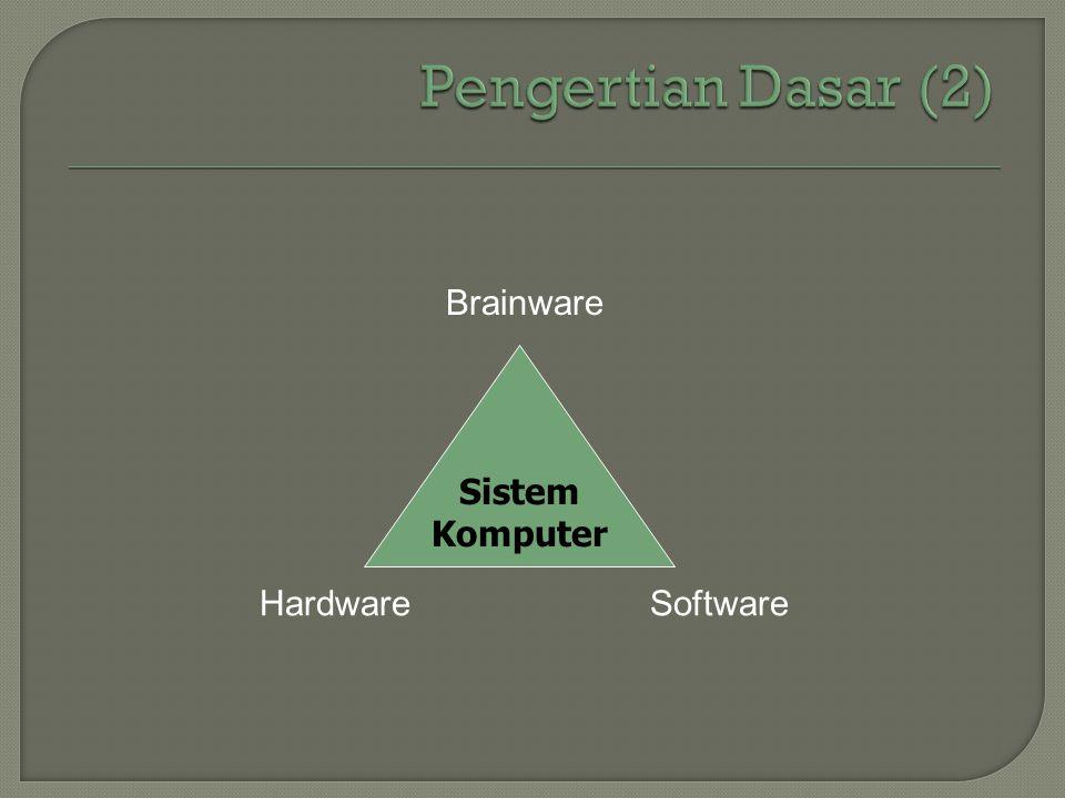 Pengertian Dasar (2) Sistem Komputer Brainware Hardware Software