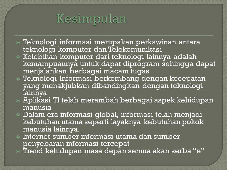 Kesimpulan Teknologi informasi merupakan perkawinan antara teknologi komputer dan Telekomunikasi.