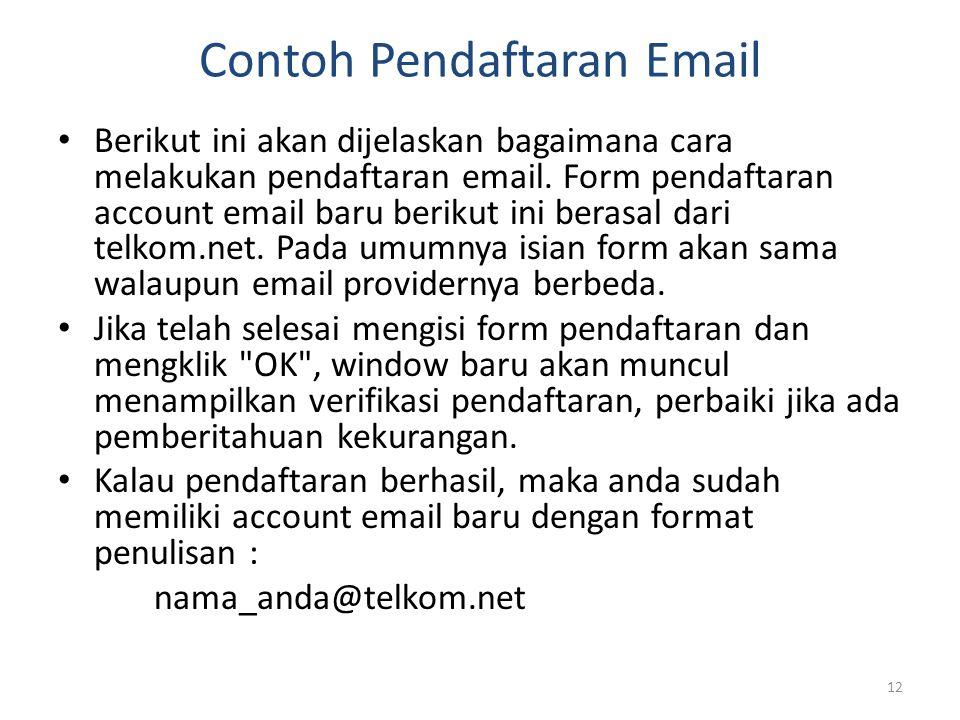 Contoh Pendaftaran Email