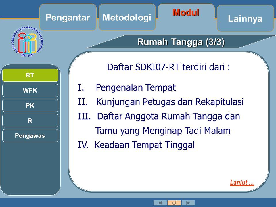 Daftar SDKI07-RT terdiri dari :