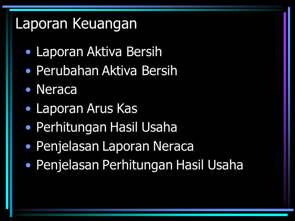 Laporan Keuangan Laporan Aktiva Bersih Perubahan Aktiva Bersih Neraca