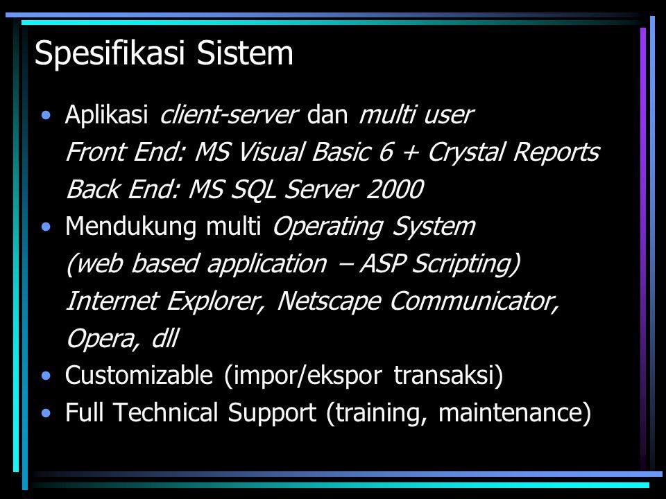 Spesifikasi Sistem Aplikasi client-server dan multi user