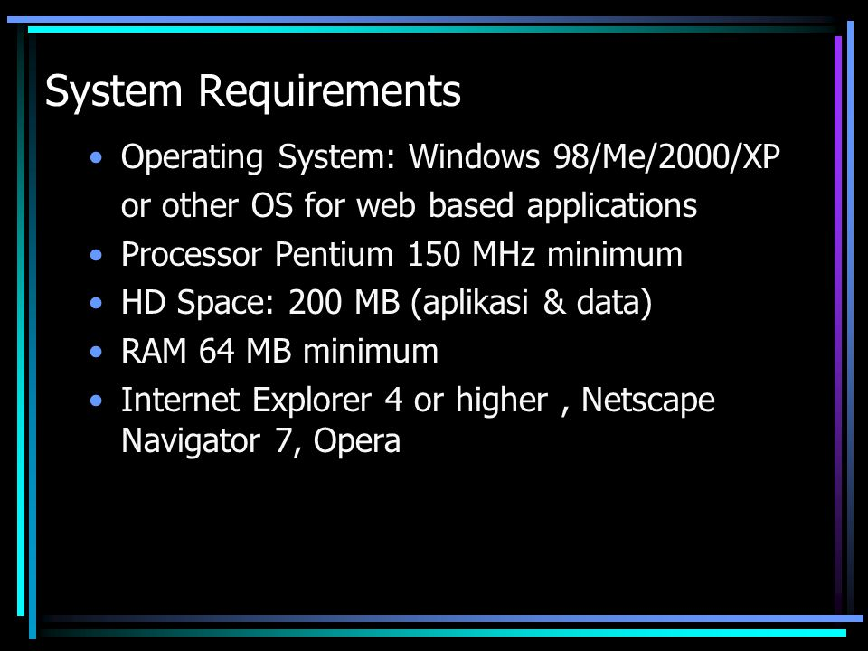 System Requirements Operating System: Windows 98/Me/2000/XP