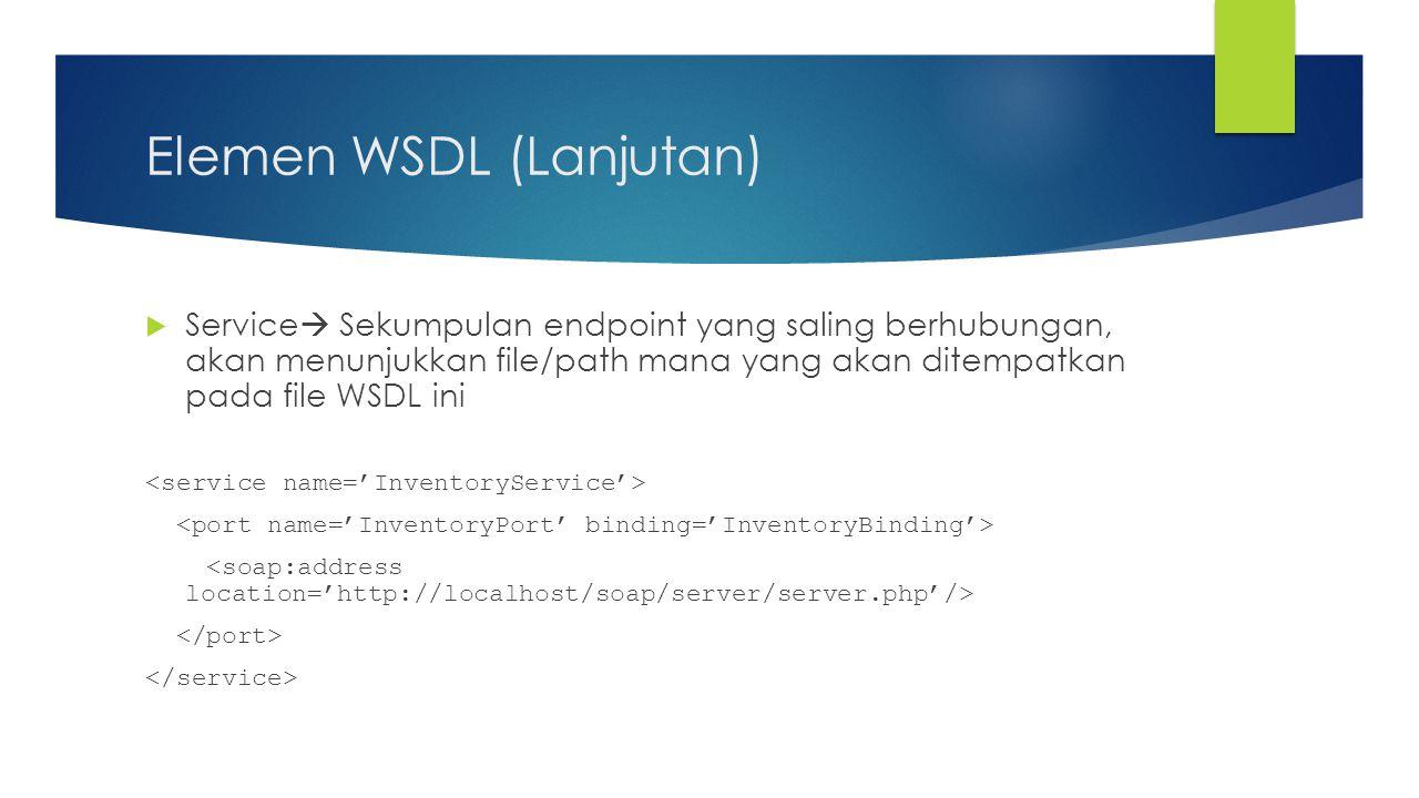 Elemen WSDL (Lanjutan)