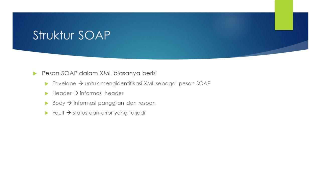 Struktur SOAP Pesan SOAP dalam XML biasanya berisi