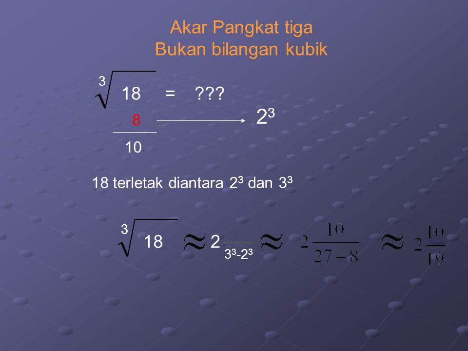 23 Akar Pangkat tiga Bukan bilangan kubik 18 = 18 2 8 10