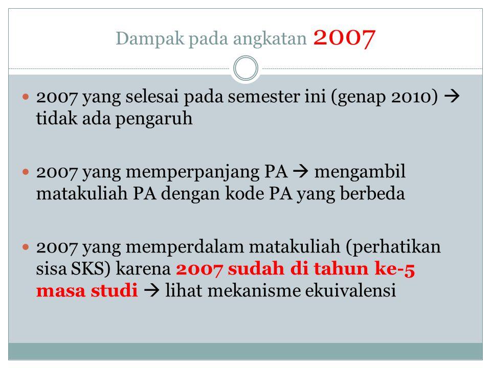 Dampak pada angkatan 2007 2007 yang selesai pada semester ini (genap 2010)  tidak ada pengaruh.