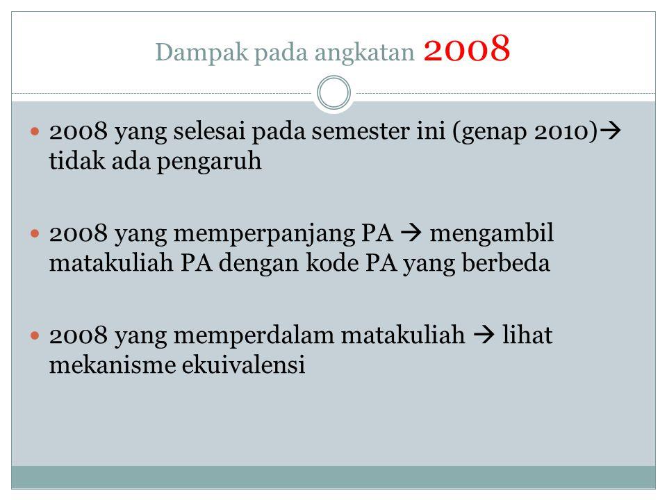 Dampak pada angkatan 2008 2008 yang selesai pada semester ini (genap 2010) tidak ada pengaruh.