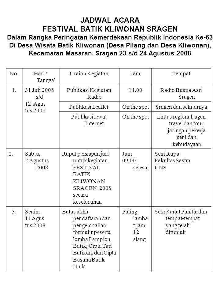 JADWAL ACARA FESTIVAL BATIK KLIWONAN SRAGEN Dalam Rangka Peringatan Kemerdekaan Republik Indonesia Ke-63 Di Desa Wisata Batik Kliwonan (Desa Pilang dan Desa Kliwonan), Kecamatan Masaran, Sragen 23 s/d 24 Agustus 2008