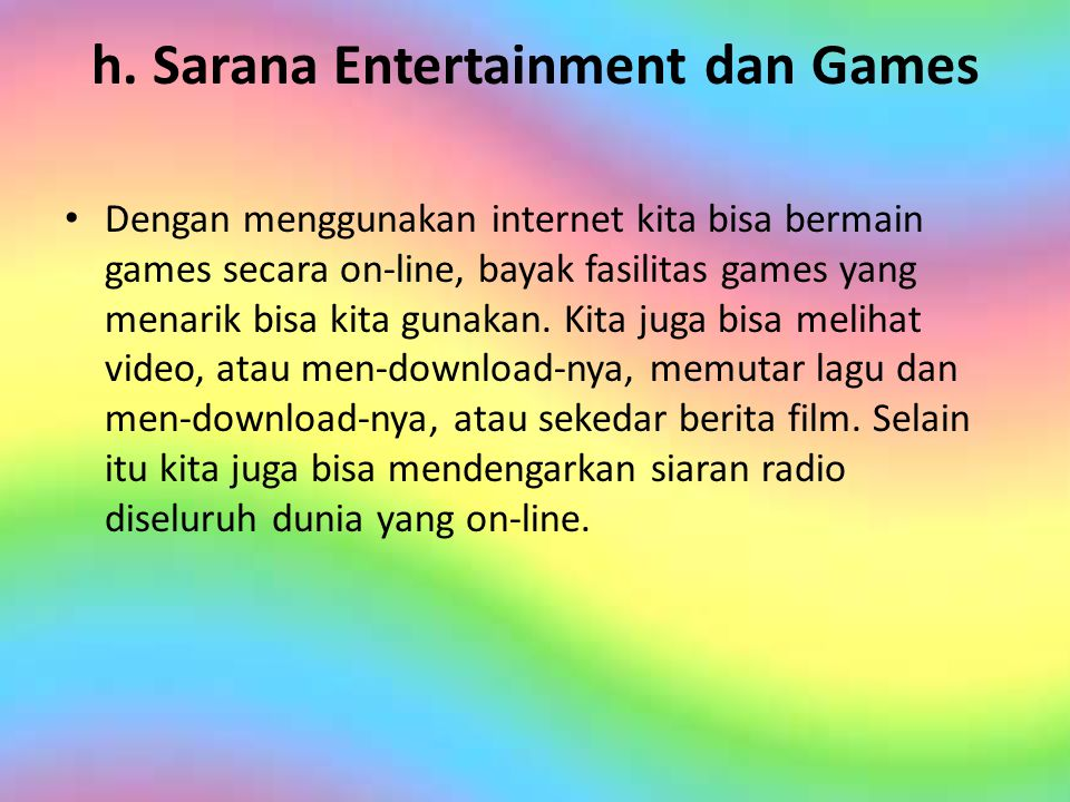 h. Sarana Entertainment dan Games