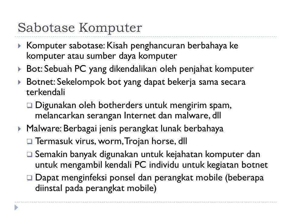 Sabotase Komputer Komputer sabotase: Kisah penghancuran berbahaya ke komputer atau sumber daya komputer.