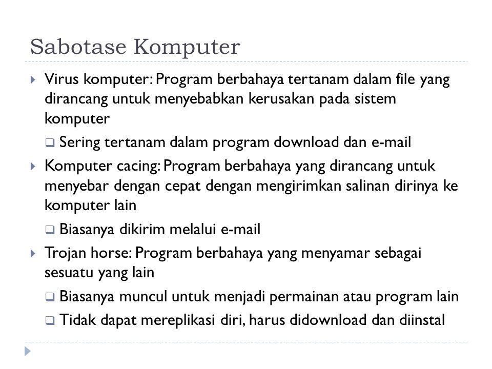 Sabotase Komputer Virus komputer: Program berbahaya tertanam dalam file yang dirancang untuk menyebabkan kerusakan pada sistem komputer.