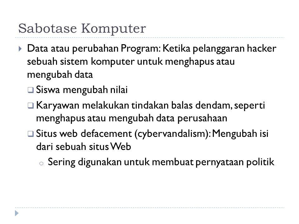 Sabotase Komputer Data atau perubahan Program: Ketika pelanggaran hacker sebuah sistem komputer untuk menghapus atau mengubah data.