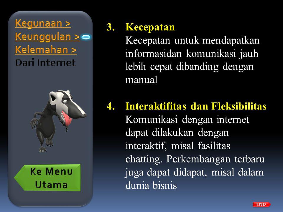 Kegunaan > Keunggulan > Kelemahan > Dari Internet Kecepatan