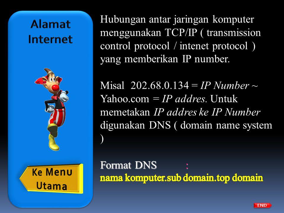Alamat Internet Hubungan antar jaringan komputer menggunakan TCP/IP ( transmission control protocol / intenet protocol ) yang memberikan IP number.