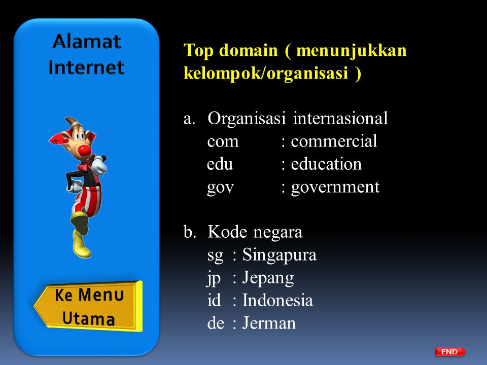 Alamat Internet Top domain ( menunjukkan kelompok/organisasi )