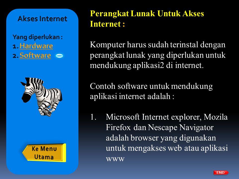 Perangkat Lunak Untuk Akses Internet :