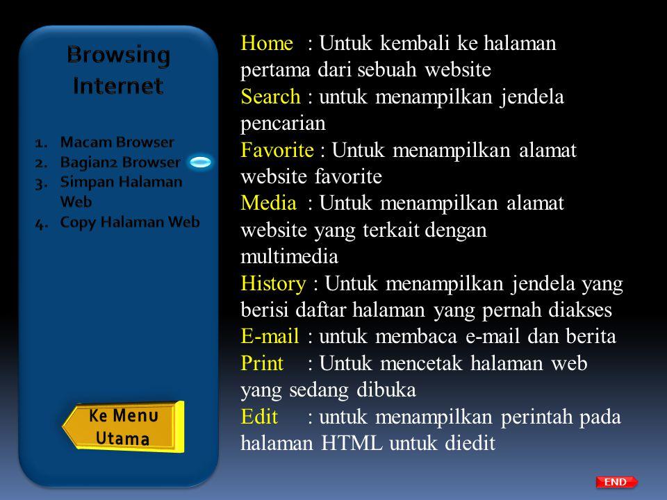 Browsing Internet Macam Browser. Bagian2 Browser. Simpan Halaman Web. Copy Halaman Web.