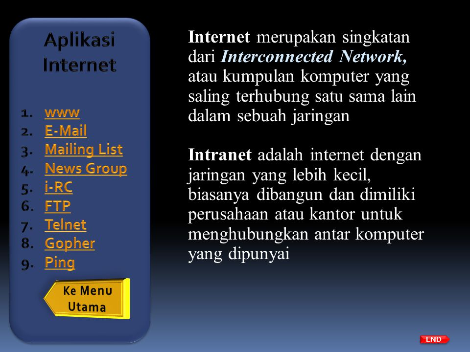 Aplikasi Internet www.  . Mailing List. News Group. i-RC. FTP. Telnet. Gopher. Ping.