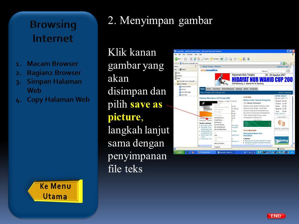 Menyimpan gambar Browsing Internet
