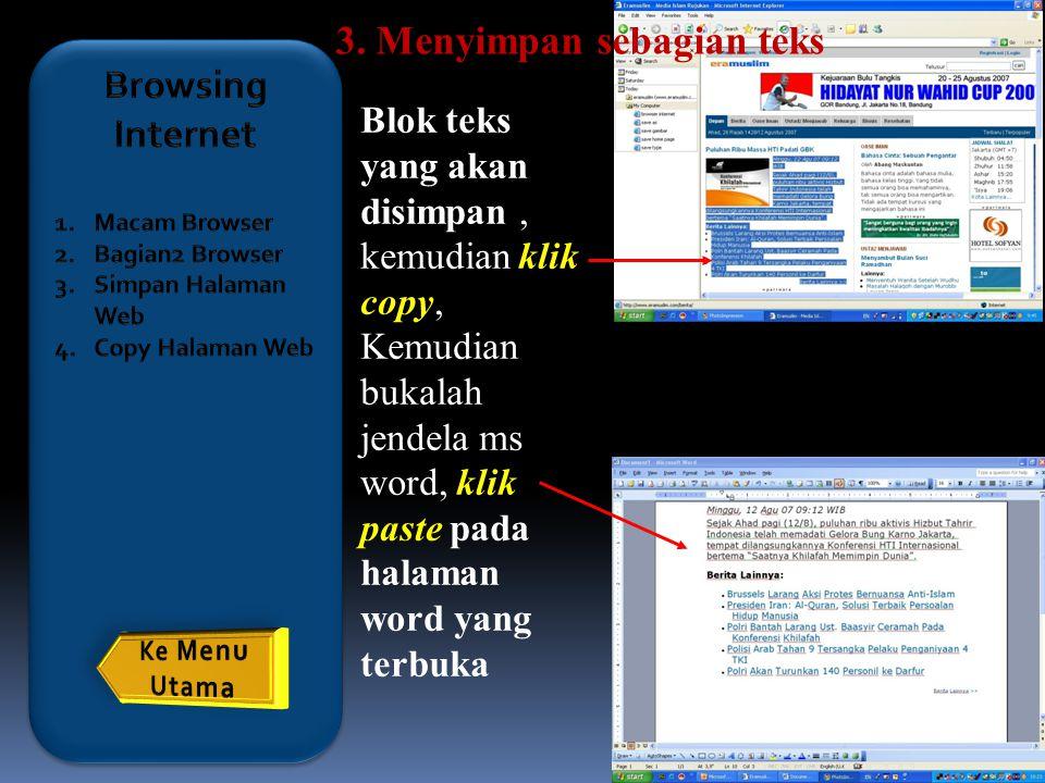 3. Menyimpan sebagian teks Browsing Internet