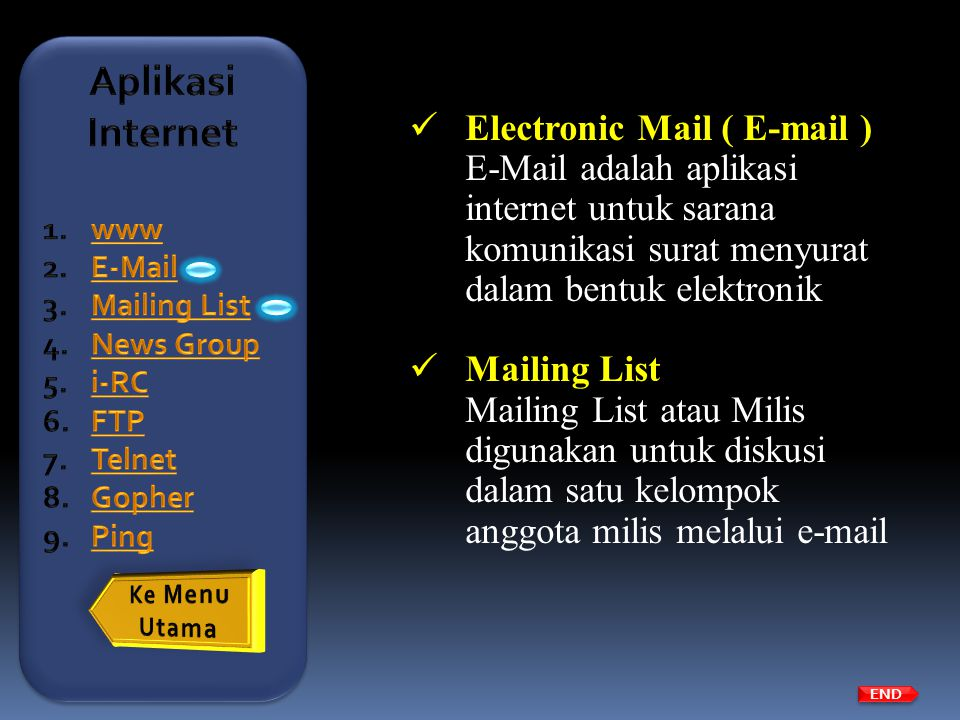 Aplikasi Internet Electronic Mail ( E-mail )