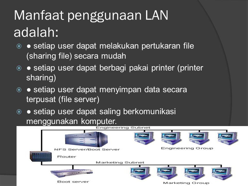 Manfaat penggunaan LAN adalah:
