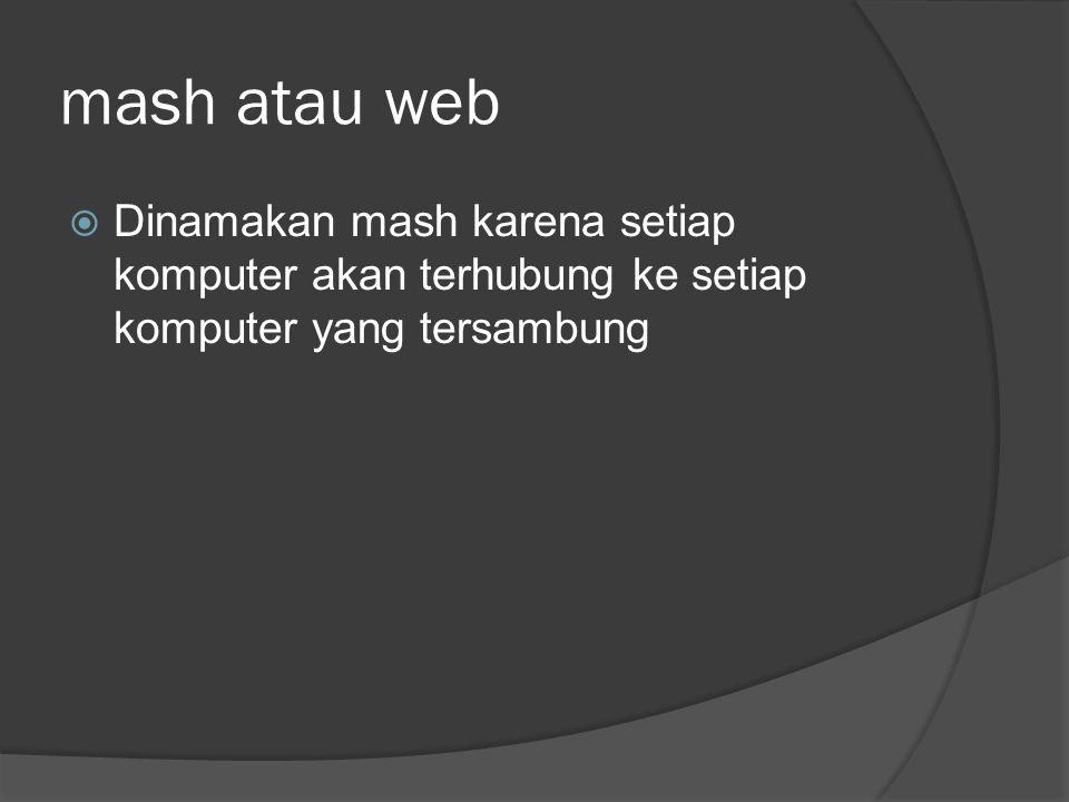 mash atau web Dinamakan mash karena setiap komputer akan terhubung ke setiap komputer yang tersambung.