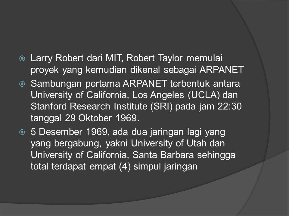 Larry Robert dari MIT, Robert Taylor memulai proyek yang kemudian dikenal sebagai ARPANET