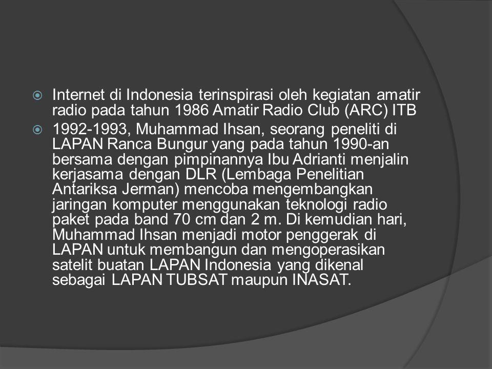 Internet di Indonesia terinspirasi oleh kegiatan amatir radio pada tahun 1986 Amatir Radio Club (ARC) ITB