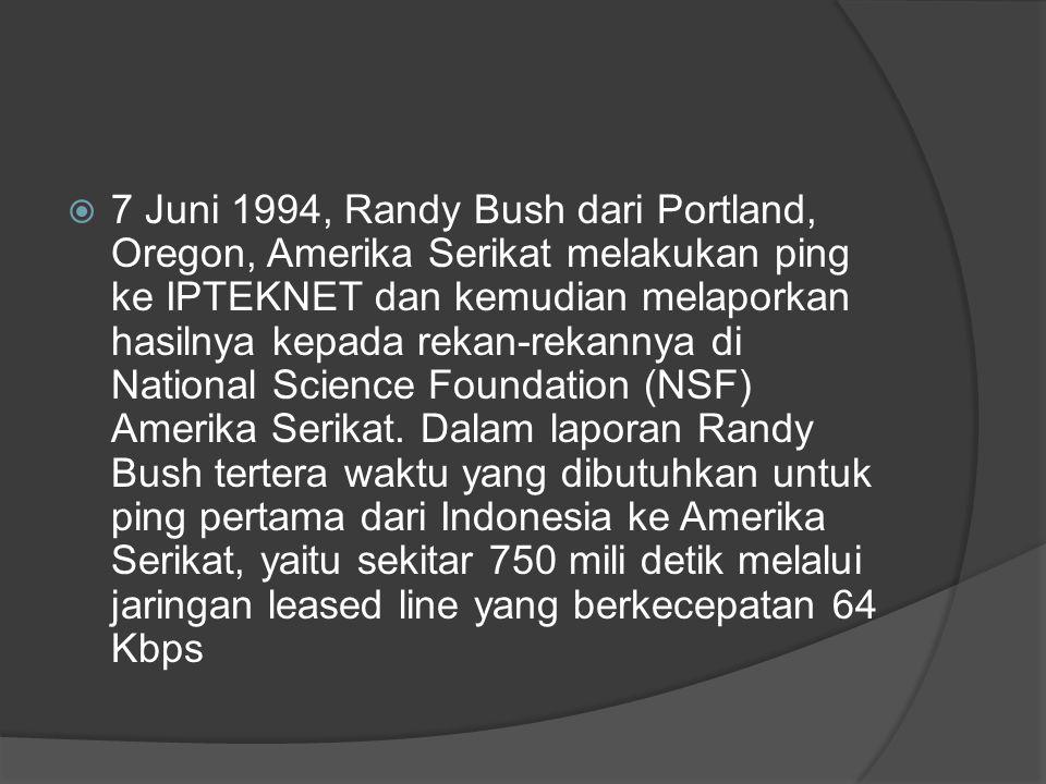 7 Juni 1994, Randy Bush dari Portland, Oregon, Amerika Serikat melakukan ping ke IPTEKNET dan kemudian melaporkan hasilnya kepada rekan-rekannya di National Science Foundation (NSF) Amerika Serikat.